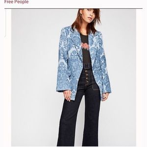 Free People light blue Botanical Jacket Blazer L